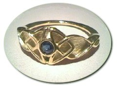 9 ct Celtic Sapphire Ring.